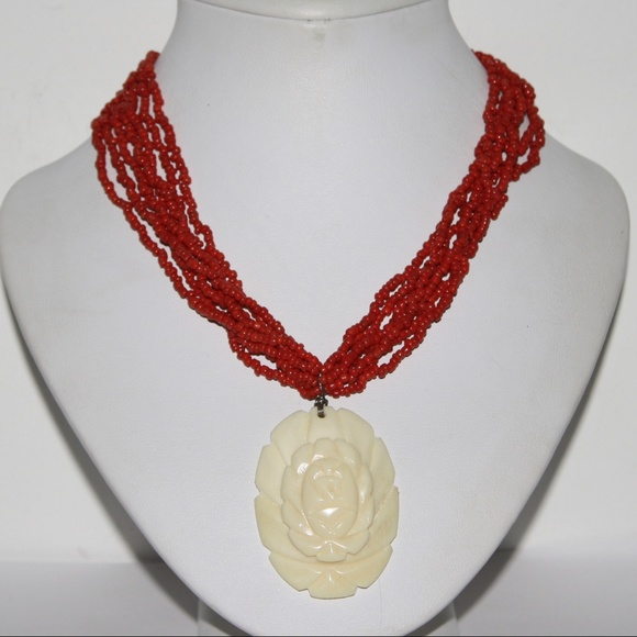 Vintage Jewelry Beautiful Carved Bone Rose Necklace Poshmark
